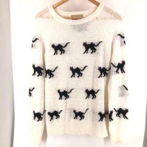 Wildfox White Label Cat White and Black Sweater